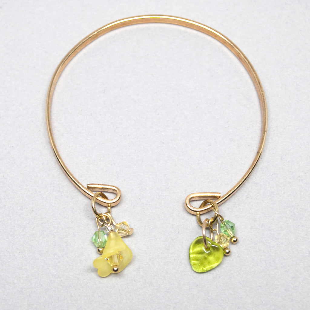 'Flower' (Yellow) gold-tone open bracelet with Swarovski crystals