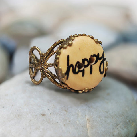Happy Wood Button Ring