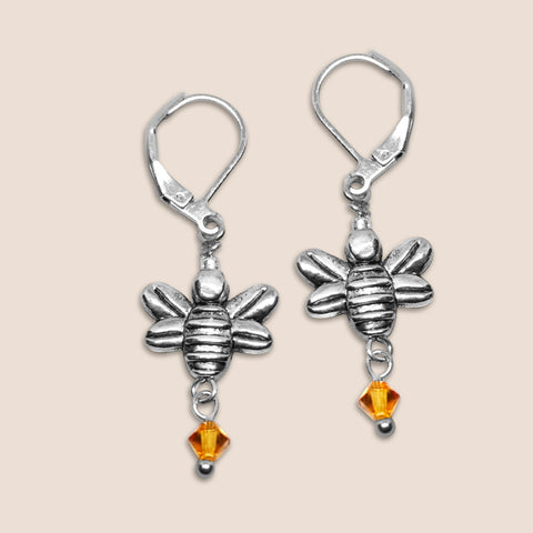 'Bee' silver tone earrings with Swarovski crystals