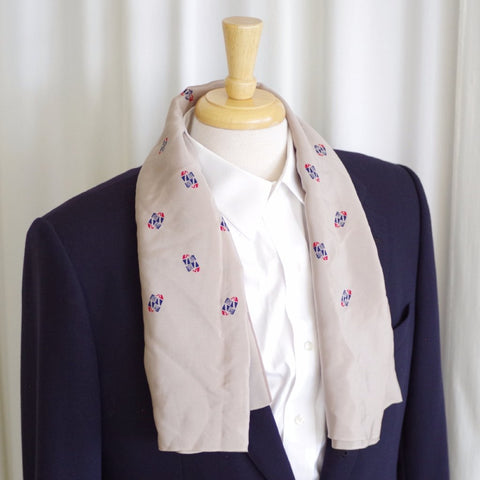 Grey Dotted 1940s Rayon Scarf