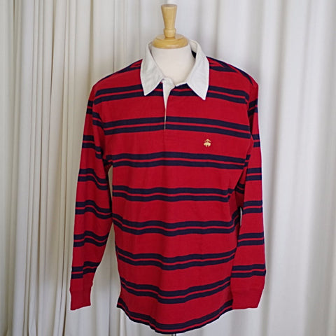 NWT Brooks Brothers Gold Fleece Red and Navy Striped Rugby Shirt- L