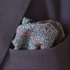 Coarse Navy and White and Salmon Cotton Pocket Square by Put This On