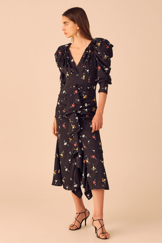 VICES LONG SLEEVE DRESS black scattered floral