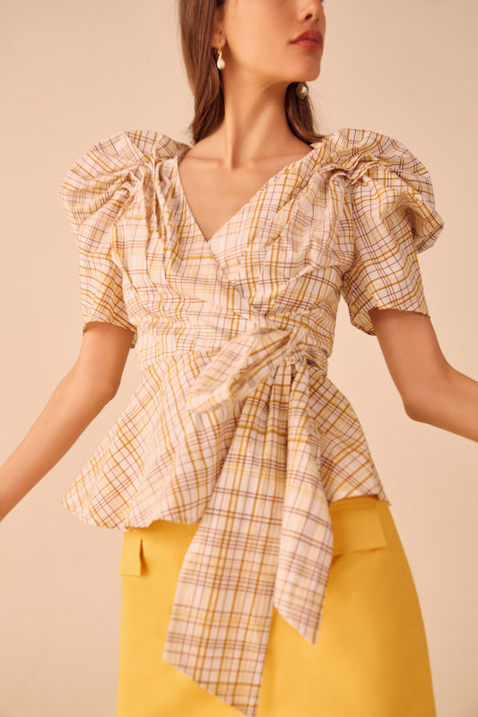 VICES SHORT SLEEVE TOP white check