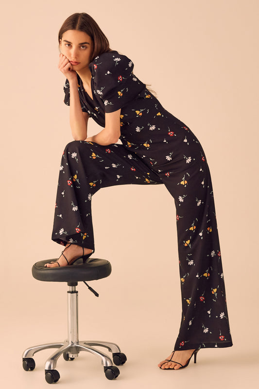 VICES JUMPSUIT black scattered floral