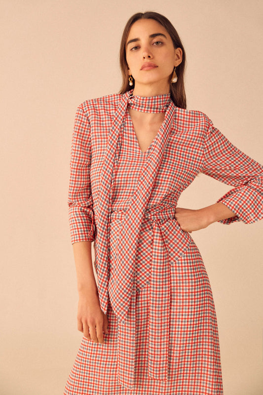 COUNTING ALL LONG SLEEVE MIDI DRESS cherry check