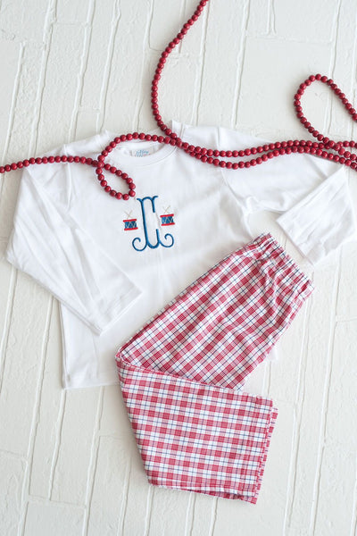Boy Straight Pant in Red Plaid, Fully Lined