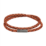 Braided Natural Brown Leather Double Bracelet