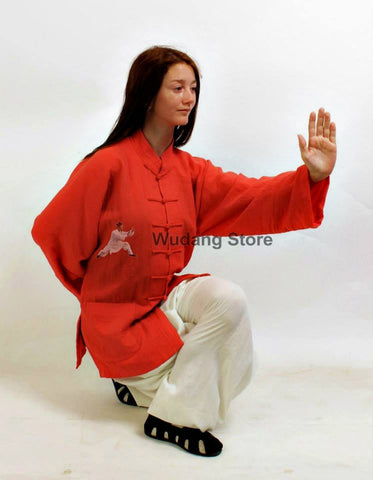 Red Shirt White Pants Tai Chi Suit