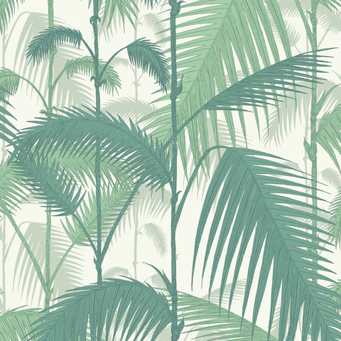 Palm Jungle in Teal on White by Cole + Son