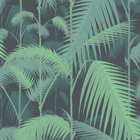 Palm Jungle in Emerald Green on China Blue by Cole + Son
