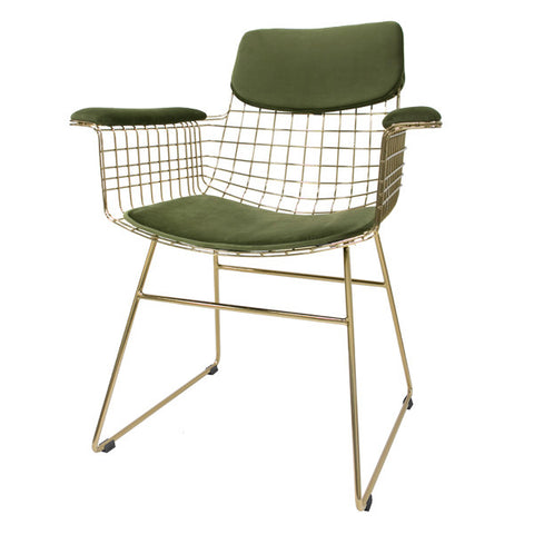 Velvet Fitted Seat Pads - Green (for wire chair)