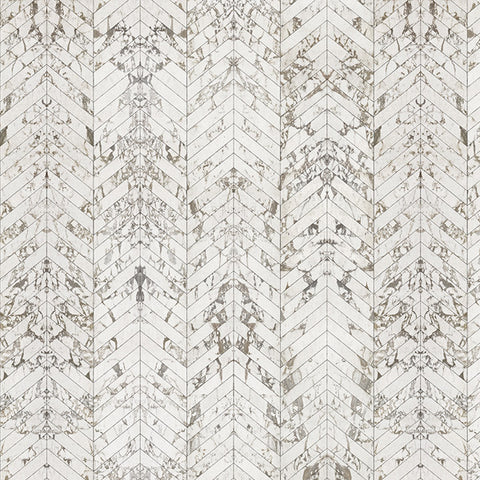 NLXL Materials Collection - PHM-45 White Marble Herringbone Wallpaper by Piet Hein Eek