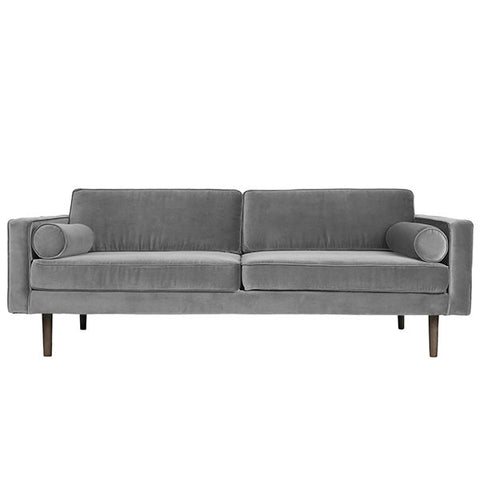Velvet Sofa in Steel Grey