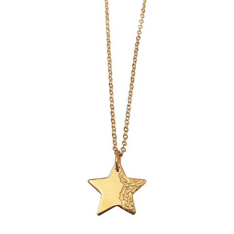 Star pendant with etched Roses motif