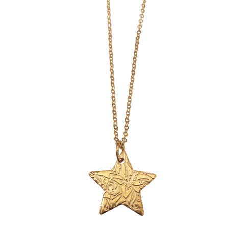 Star Pendant with Etched Tiger Lilies Motif