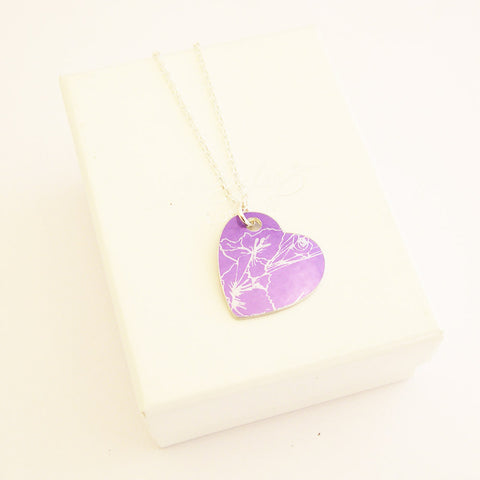 hand made contemporary aluminum Purple August's birth flower Gladiolus Pendant with silver chain by Sally Lees