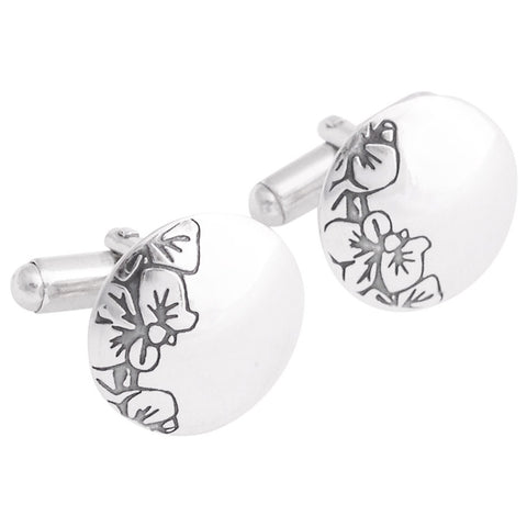 Sterling silver contemporary cufflinks with black orchids drawing