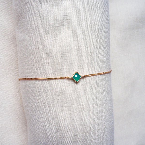 Ever Bracelet - Green Onyx in Rose Gold