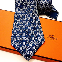 HERMES Silk Tie 7515 IA Blues