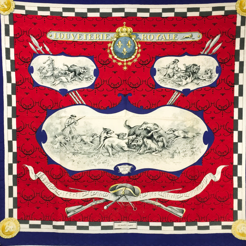 Louveterie Royale Hermes Scarf Jacquard Silk in red blue and gray