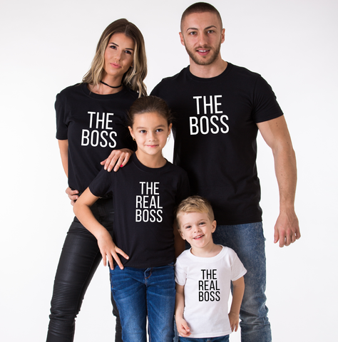 The Boss, The Real Boss, Family Matching Set of Shirts