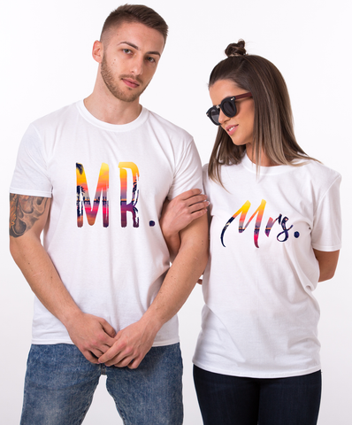 Mr Mrs, Tropical Pattern, Couple Matching Set of Shirts