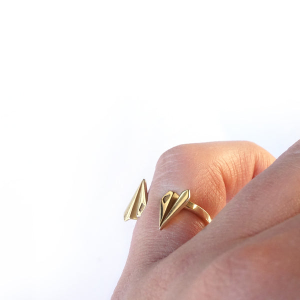 Skybound Paper Plane Ring - Gold