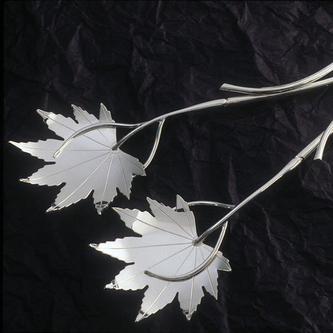 Sterling silver Japanese maple serving pieces