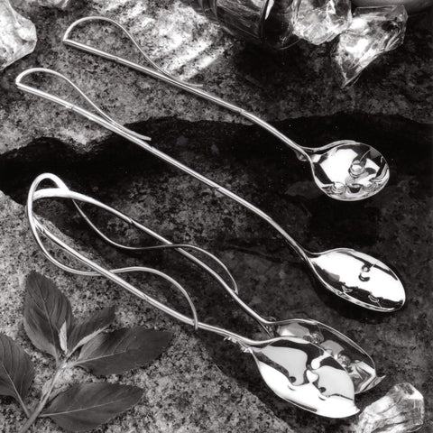 Sterling silver money plant serving pieces