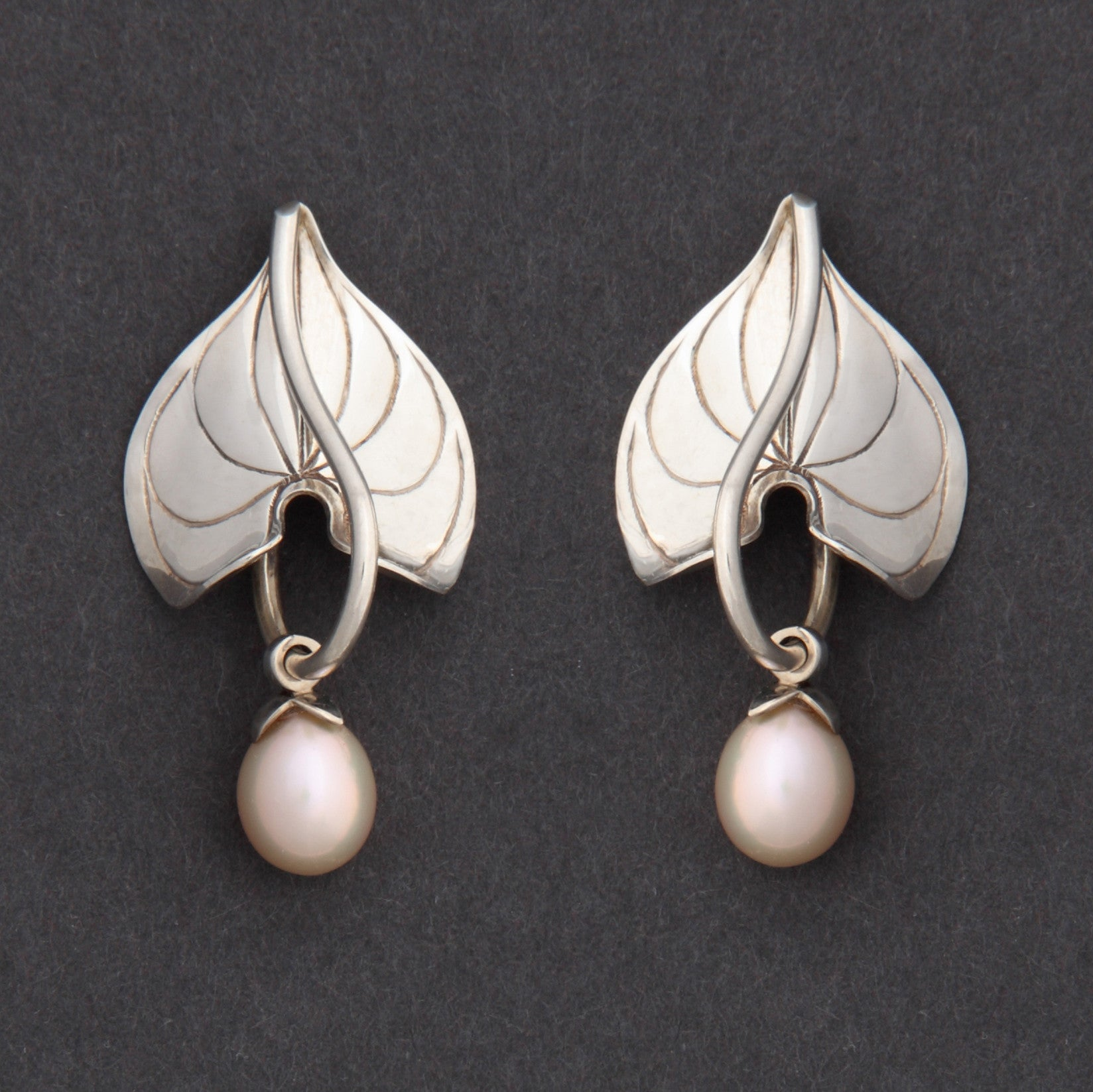 Sterling silver Morning Glory earrings with pearls