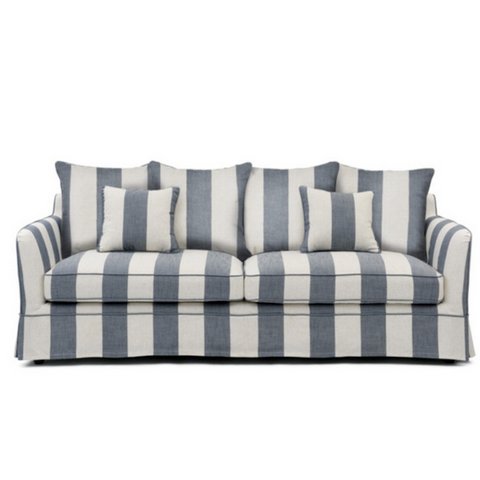 Denim & Cream Stripe 3 Seat Sofa