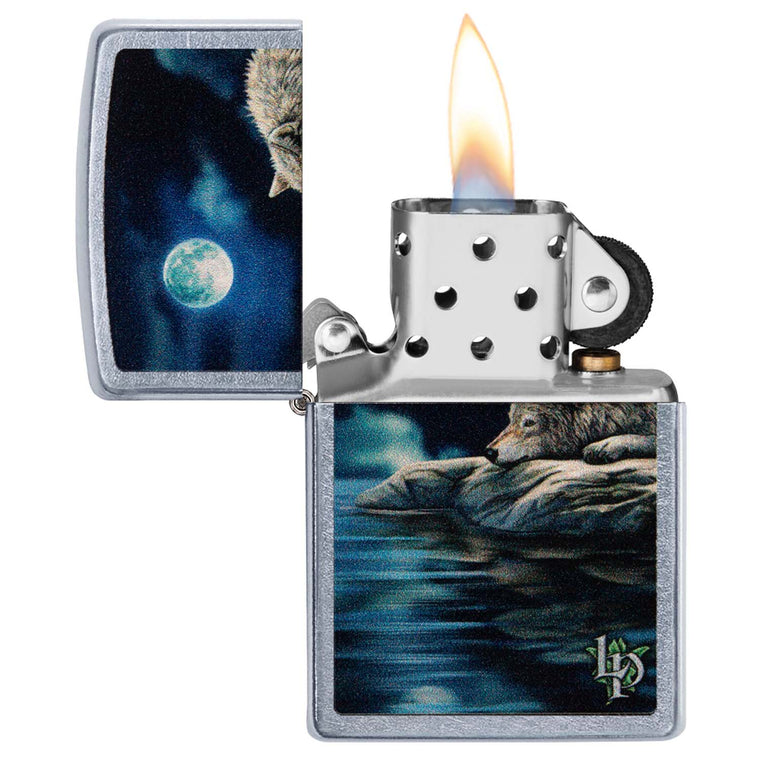 Zippo Street chrom Lisa Parker Quiet Reflection Wolf