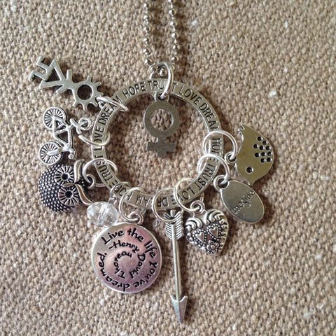 girl power charm necklace