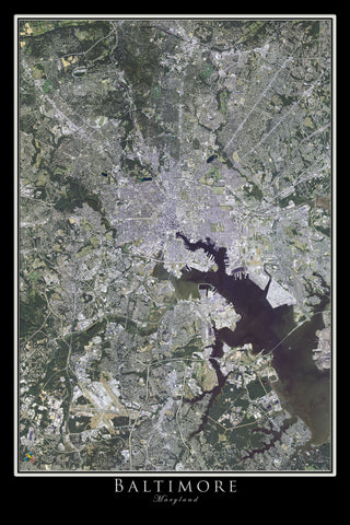 Baltimore Maryland Satellite Poster Map