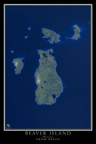 Beaver Island Michigan Satellite Poster Map - TerraPrints.com