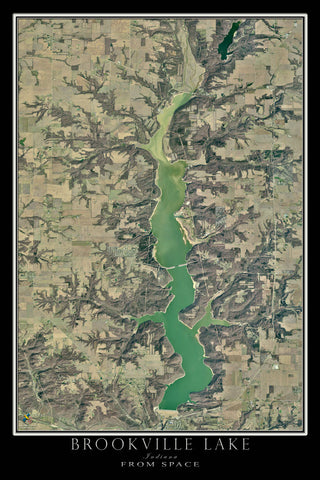 Brookville Lake Indiana Satellite Poster Map - TerraPrints.com