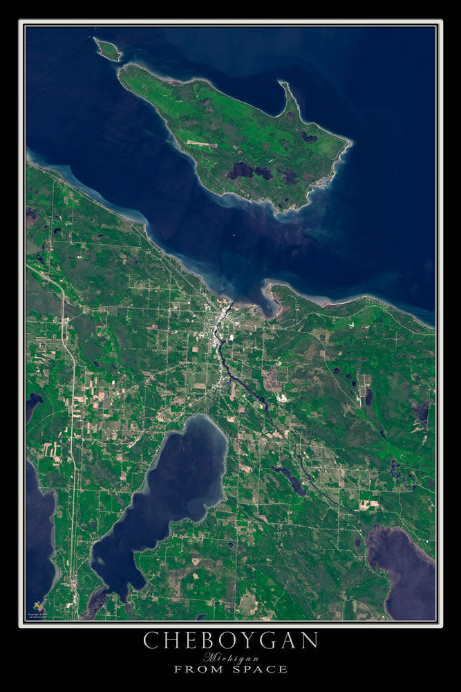 Cheboygan Michigan Satellite Poster Map - TerraPrints.com