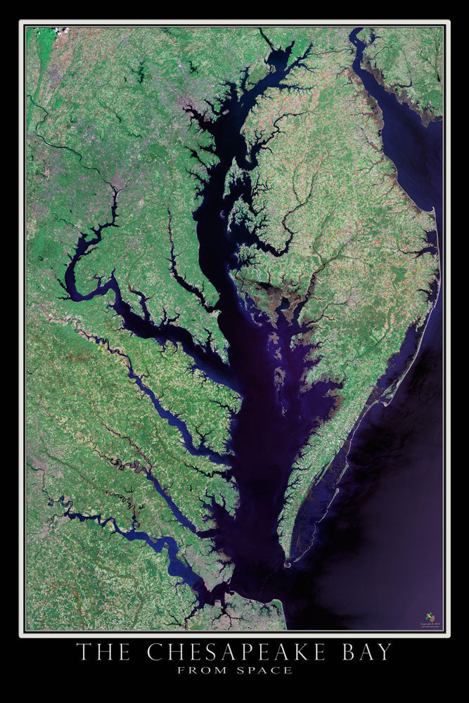Chesapeake Bay Virginia - Maryland Satellite Poster Map - TerraPrints.com