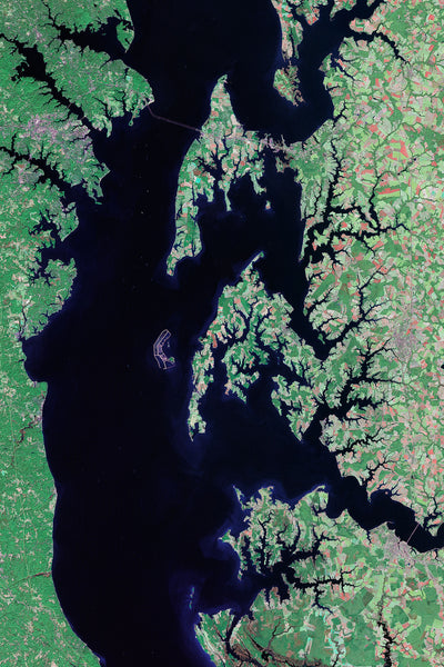 Chesapeake Bay Virginia - Maryland Satellite Poster Map