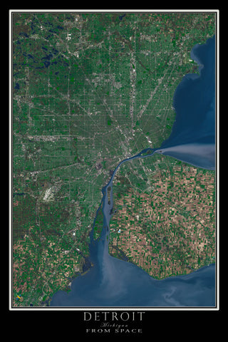 Detroit Michigan Satellite Poster Map