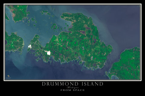 Drummond Island Michigan Satellite Poster Map - TerraPrints.com