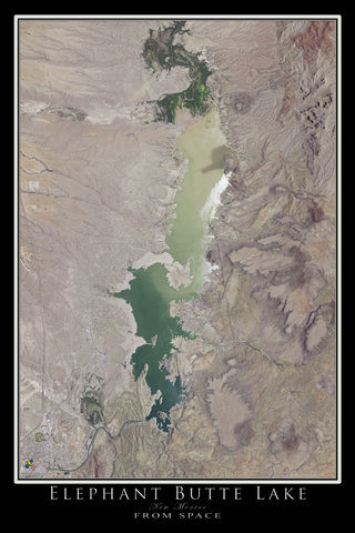 Elephant Butte Lake New Mexico Satellite Poster Map