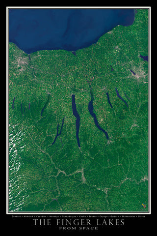 Finger Lakes Region New York Satellite Poster Map