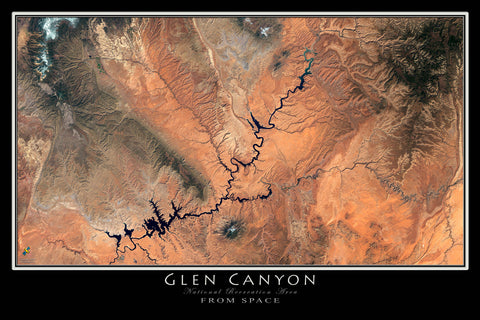 Glen Canyon - Lake Powell National Rec Area Arizona - Utah Satellite Poster Map - TerraPrints.com