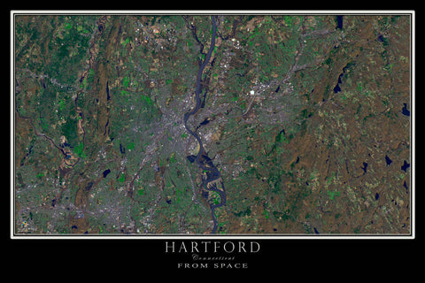 Hartford Connecticut Satellite Poster Map - TerraPrints.com