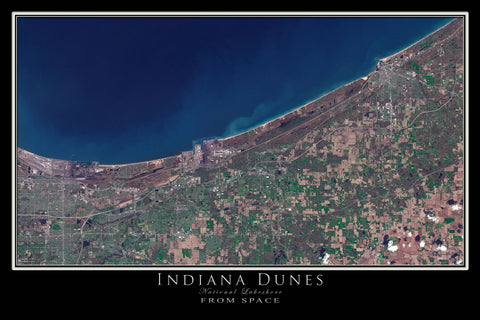 Indiana Dunes National Lakeshore Satellite Poster Map - TerraPrints.com