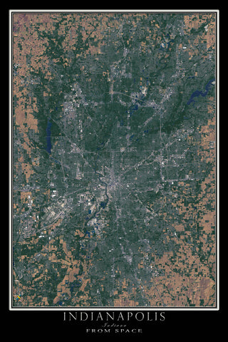 Indianapolis Indiana Satellite Poster Map - TerraPrints.com
