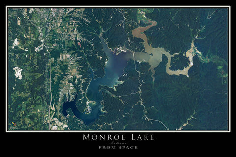 Monroe Lake Indiana Satellite Poster Map