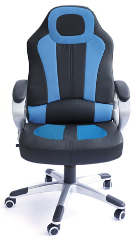 Kidzmotion Racing Gaming high back reclining office chair with massage and heat - blue